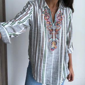 Soft Surroundings Aruba Embroidered Cotton Tunic